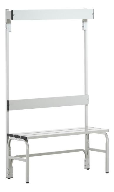 Sypro Wolf® Umkleidebank für Nassräume mit Rückenlehne 1,01 m , Ohne Schuhrost