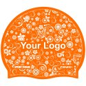 Latex Printed Swimming Cap Orange, One-sided, Orange, One-sided