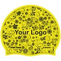 Latex Printed Swimming Cap Yellow, One-sided, Yellow, One-sided