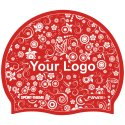 Latex Printed Swimming Cap Red, One-sided, Red, One-sided