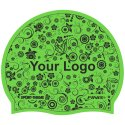 Latex Printed Swimming Cap Green, Double-sided