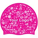 Printed Silicone Swimming Cap Pink, One-sided