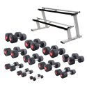 Sport-Thieme® Compact Rubber Dumbbell Set 1-25 kg, incl. double dumbbell stand