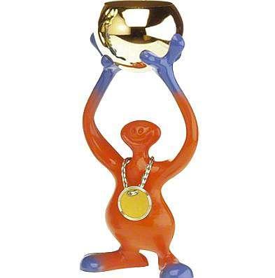 "Pokalfigur ""Bibo"" Orange-Blau H:24 cm"