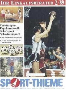 Das ist das Deckblatt des Sport-Thieme Katalogs von 1989