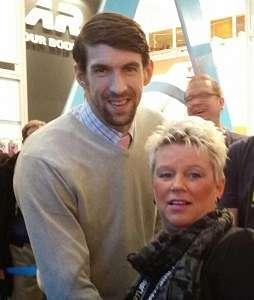 Silvia mit Michael Phelps