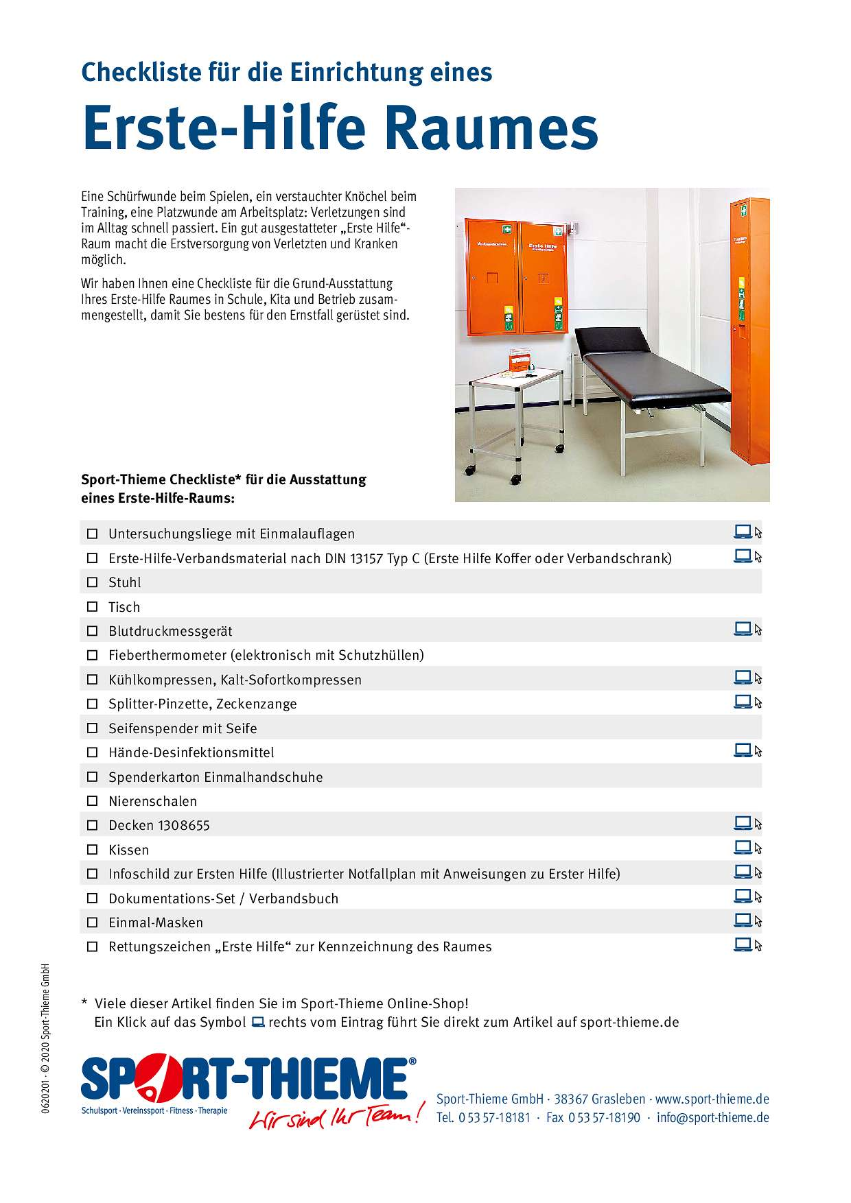 Checkliste Erste-Hilfe-Raum
