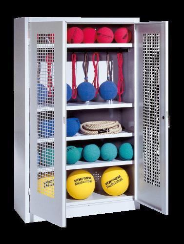 Sports Equipment Locker, HxWxD 195x120x50 cm, with perforated metal double doors (type 2)