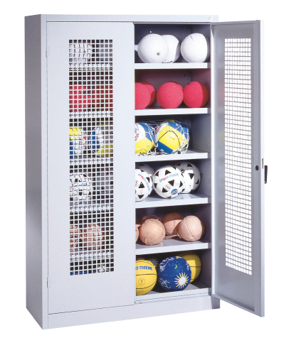 Ball Cabinet, HxWxD 195x120x50 cm, with Perforated Metal Double Doors (type 3)