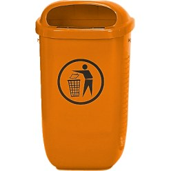 Litter Bin, complies with DIN Orange, Standard