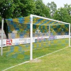 Alu-Fußballtor 7,32x2,44 m, in Bodenhülsen stehend mit freier Netzaufhängung