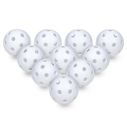 Floorball Balls, Set of 10 White