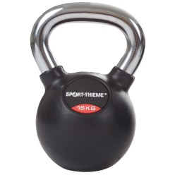 Sport-Thieme® Rubberised Kettlebell with Smooth Chrome Handle