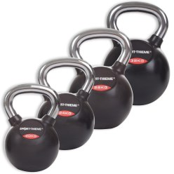 Sport-Thieme® Rubberised Kettlebell with Smooth Chrome Handle Set