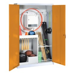 Sports Equipment Locker, HxWxD 195x120x50 cm, with metal double doors (type 1) Light grey (RAL 7035), Light grey (RAL 7035)