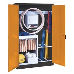 Sports Equipment Locker, HxWxD 195x120x50 cm, with metal double doors (type 1) Sunny Yellow (RDS 080 80 60), Anthracite (RAL 7021)