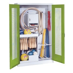 Sports Equipment Locker, HxWxD 195x120x50 cm, with perforated metal double doors (type 1)