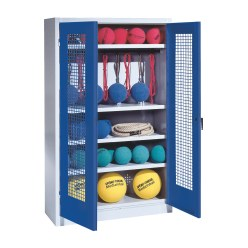 Sports Equipment Locker, HxWxD 195x120x50 cm, with perforated metal double doors (type 2) Sunny Yellow (RDS 080 80 60), Light grey (RAL 7035)