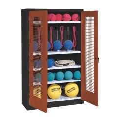 Sports Equipment Locker, HxWxD 195x120x50 cm, with perforated metal double doors (type 2) Sunny Yellow (RDS 080 80 60), Anthracite (RAL 7021)