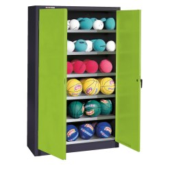 Ball Cabinet, HxWxD 195x93x40 cm, with Sheet Metal Double Doors (type 3) Sunny Yellow (RDS 080 80 60), Anthracite (RAL 7021)