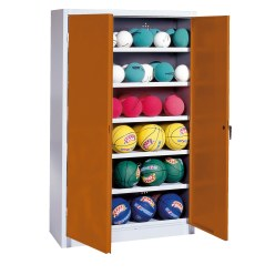 Ball Cabinet, HxWxD 195x120x40 cm, with Sheet Metal DoubleDoors (type 3) Sunny Yellow (RDS 080 80 60), Anthracite (RAL 7021)