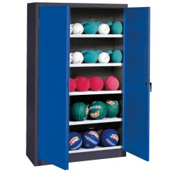 Ball Cabinet, HxWxD 195x150x50 cm, with Sheet Metal Double Doors (type 3) Sunny Yellow (RDS 080 80 60), Anthracite (RAL 7021)