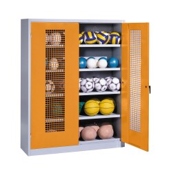 Ball Cabinet, HxWxD 195x150x50 cm, with Perforated Metal Double Doors (type 3) Sunny Yellow (RDS 080 80 60), Light grey (RAL 7035)