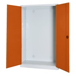 Modular Sports Equipment Cabinet, HxWxD 195x120x50 cm, with Sheet Metal Double Doors Sunny Yellow (RDS 080 80 60), Anthracite (RAL 7021)