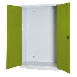 Modular Sports Equipment Cabinet, HxWxD 195x120x50 cm, with Sheet Metal Double Doors Sunny Yellow (RDS 080 80 60), Light grey (RAL 7035)