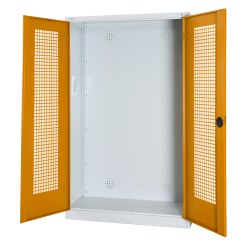 Modular Sports Equipment Cabinet, HxWxD 195x120x50 cm, with Perforated Sheet Double Doors Sunny Yellow (RDS 080 80 60), Light grey (RAL 7035)