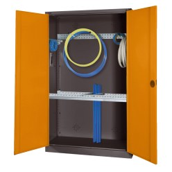 Modular Sports Equipment Cabinet with Basic Fittings, HxWxD 195x120x50 cm, with Sheet Metal Double Doors Sunny Yellow (RDS 080 80 60), Light grey (RAL 7035)