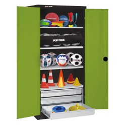 C+P Type 4 Sports Equipment Locker with Drawers and Sheet Metal Double Doors, H×W×D: 195×120×50 cm Sunny Yellow (RDS 080 80 60), Light grey (RAL 7035)