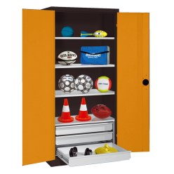 C+P Type 4 Sports Equipment Locker with Drawers and Sheet Metal Double Doors, H×W×D: 195×120×50 cm Sunny Yellow (RDS 080 80 60), Anthracite (RAL 7021)