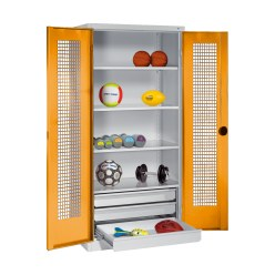 C+P Type 4 Sports Equipment Locker with Drawers and Perforated Double Doors, H×W×D: 195×120×50 cm Sunny Yellow (RDS 080 80 60), Anthracite (RAL 7021)