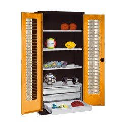 C+P Type 4 Sports Equipment Locker with Drawers and Perforated Double Doors, H×W×D: 195×120×50 cm Sunny Yellow (RDS 080 80 60), Light grey (RAL 7035)