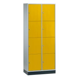 """S 4000 Intro"" Large Capacity Compartment Locker (4-Door Locker) Yellow orange (RAL 2000), 195x82x49 cm/ 8 compartments"
