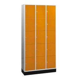 """Großraum-Schließfachschrank """"S 4000 Intro"""" (5 Fächer übereinander) Lichtgrau (RAL 7035), 195x122x49 cm/ 15 Fächer"""