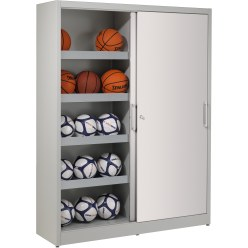 Ball Cabinet, HxWxD 195x120x50 cm, with Sheet Metal Sliding Doors (type 4)
