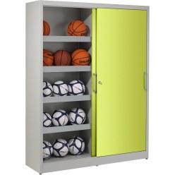Ball Cabinet, HxWxD 195x120x50 cm, with Sheet Metal Sliding Doors (type 4) Light grey (RAL 7035), Light grey (RAL 7035)