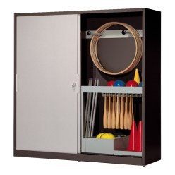 Sports Equipment Cabinet, HxWxD 195x200x60 cm, with Sheet Metal Sliding Doors (type 5)