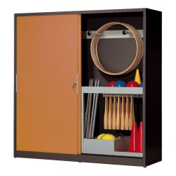 Sports Equipment Cabinet, HxWxD 195x200x60 cm, with Sheet Metal Sliding Doors (type 5) Light grey (RAL 7035), Light grey (RAL 7035)