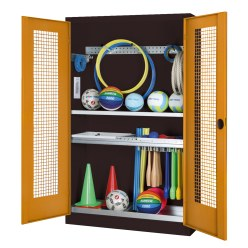 Modular Sports Equipment Cabinet with Complete Fittings, HxWxD 195x120x50 cm, with Perforated Metal Double Doors Light grey (RAL 7035), Light grey (RAL 7035)