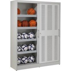 Ballschrank, HxBxT: 195x150x50 cm, mit Lochblech-Schiebetüren