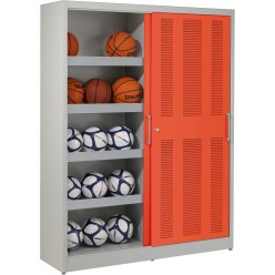 Ball Storage Cabinet, HxWxD: 195x150x50 cm, with Perforated Sliding Doors Light grey (RAL 7035), Anthracite (RAL 7021)