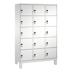 """""""S 3000 Evolo"""" Lockers with Base Legs (5 Lockers Positioned Vertically) Light grey (RAL 7035), 185x90x50 cm/ 15 compartments"""