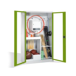 Sports Equipment Cabinet, HxWxD 195x120x50 cm, with Acrylic Glass Double Doors (Type 1) Sunny Yellow (RDS 080 80 60), Light grey (RAL 7035)