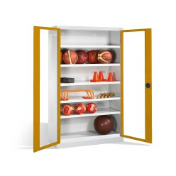 Ball Cabinet, HxWxD 195x120x50 cm, with Acrylic Glass Double Doors (Type 3) Sunny Yellow (RDS 080 80 60), Light grey (RAL 7035)
