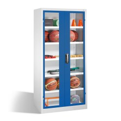 Ball Cabinet, HxWxD 195x93x50 cm, with Acrylic Glass Double Doors (Type 3) Sunny Yellow (RDS 080 80 60), Light grey (RAL 7035)
