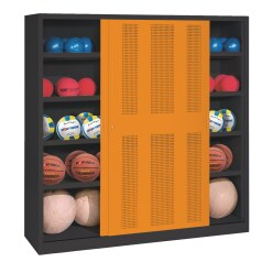 C+P Ballschrank  (HxBxT 195x160x50 cm, mit Lochblech-Schiebetüren, Typ 4)
