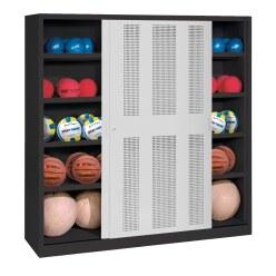 C+P Ballschrank  HxBxT 195x120x50 cm, mit Lochblech-Schiebetüren (Typ 4) Enzianblau (RAL 5010), Anthrazit (RAL 7021)